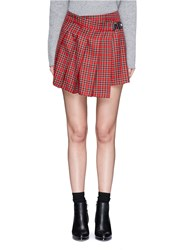 Topshop Tartan Plaid Pleated Mini Wrap Skirt Multi Colour