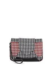 Dannijo Rocha Houndstooth Leather Clutch Nero