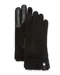 Ugg Tenney Suede And Leather Gloves W Shearling Lining Black