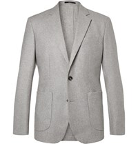 Hardy Amies Grey Slim Fit Unstructured Cashmere Blazer Gray