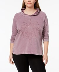 Style And Co Plus Size Cotton Embroidered Hoodie Created For Macy's Antique Mauve