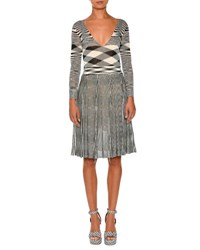 Missoni Mixed Knit Long Sleeve Dress Black White Black White