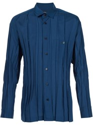 Issey Miyake Men Creased Effect Shirt Blue