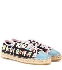 Fendi Printed Leather Trimmed Sneakers Black