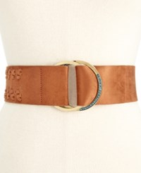 Inc International Concepts Faux Suede Whipstitch Pull Through Stretch Belt Only At Macy's Cognac