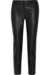 Theory Inzulle Faux Leather Straight Leg Pants Blue