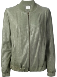 Forte Forte Perforated Bomber Jacket Green
