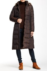 Anne Klein Long Fly Front Down Faux Fur Hood Jacket Brown