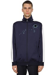 Valentino Embroidered Acetate Track Jacket Navy