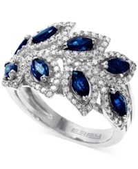 Effy Collection Royale Bleu By Effy Sapphire 1 3 4 Ct. T.W. And Diamond 1 2 Ct. T.W. Leaf Ring In 14K White Gold