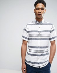 Only And Sons Short Sleeve Shirt In Slim Fit With Mixed Stripe Blue Navy
