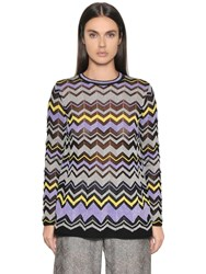 M Missoni Cotton Lurex Jacquard Knit Sweater