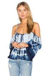Gypsy 05 Cold Shoulder Bell Sleeve Top Navy