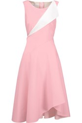 Oscar De La Renta Two Tone Pleated Wool Blend Twill Dress Baby Pink