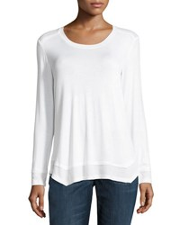 Sweet Romeo Long Sleeve Thermal Shoulder Top White
