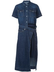 Sacai Denim Pleated Panel Shirt Dress Women Cotton Polyester 2 Blue