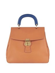 Burberry Two Tone Leather Top Handle Satchel Bright Toffee