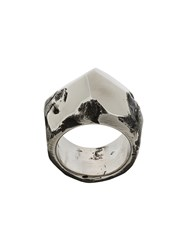 Lost And Found Ria Dunn Faceted Crater Ring Stainless Steel Metallic