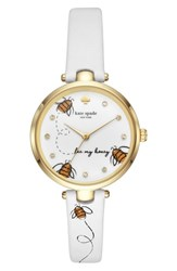 Kate Spade 'S Holland Bee Leather Strap Watch 34Mm White Black Gold
