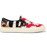 Amiri Leather Trimmed Panelled Calf Hair And Canvas Slip On Sneakers Red