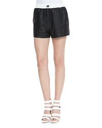 T By Alexander Wang Matte Leather Shorts With Drawstring Black