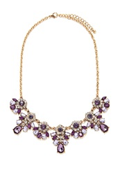 Forever 21 Faux Gem Statement Necklace Purple Gold
