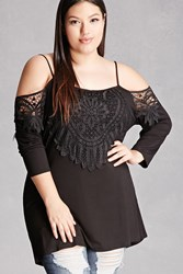 Forever 21 Plus Size Open Shoulder Tunic Black