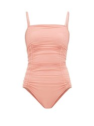 Three Graces London Helena Ruched Jersey Swimsuit Pink