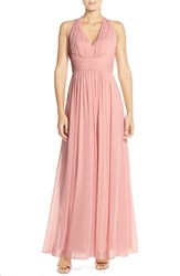 Women's Dessy Collection Ruched Chiffon V Neck Halter Gown
