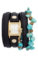 La Mer 'S Collections Oceana Stones Leather Wrap Watch 29Mm X 25Mm Black White Gold