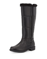 Abbott Faux Fur Lined Leather Weather Boot Black Taryn Rose