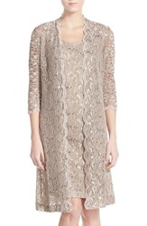 Women's Alex Evenings Sequin Lace Sheath Dress With Jacket Champagne