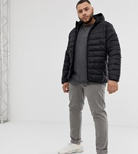 Blend Of America Plus Quilted Jacket With Hood In Black