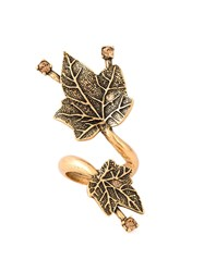 Oscar De La Renta Ivy Leaves Ring Metallic