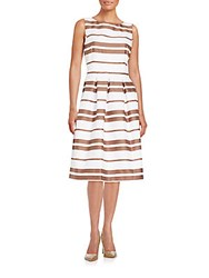 Lafayette 148 New York Zoe Striped Fit And Flare Dress White Brown