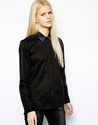 Mango Studded Collar Shirt Black