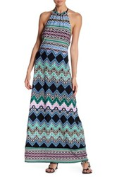 Laundry By Shelli Segal Halter Tie Printed Maxi Blue