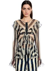 Alberta Ferretti Ruffled And Striped Silk Chiffon Shirt