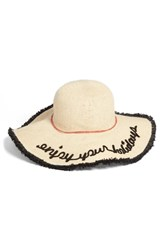 Sole Society Embroidered Straw Sun Hat With Fringe Beige Natural