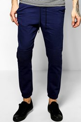 Boohoo Skinny Fit Quilted Biker Joggers Navy