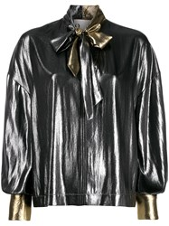 8Pm Pussy Bow Flared Blouse Silver