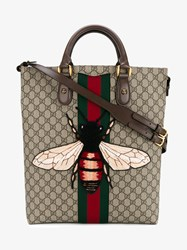 Gucci Leather And Suede Bee Embroidered Tote Beige Brown Multi Coloured Denim White