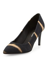 Proenza Schouler Striped Canvas Pump Black Peach Black Pink Size 39.0B 9.0B