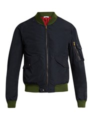 Tomas Maier Contrast Panel Technical Bomber Jacket Navy