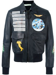 Off White Multi Prints Leather Jacket Blue