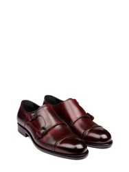 Harry's Of London Roger Satin Calf Burgundy Monk Strap Shoes Brown
