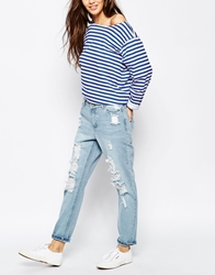 Only All Over Distressed Jean Blue