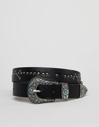 Johnny Loves Rosie Western Detail Belt Black