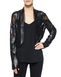 Haute Hippie Long Sleeve Studded Faux Leather Jacket Black