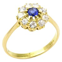 Turner And Leveridge Edwardian 14Ct Gold Sapphire And Diamond Engagement Ring Blue Gold